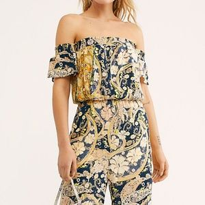 Free People Carmen Jumpsuit in Navy Print